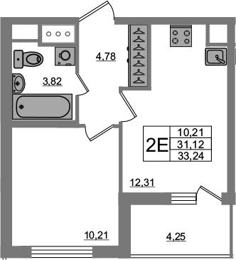 2Е-к.кв, 31.12 м², 6 этаж