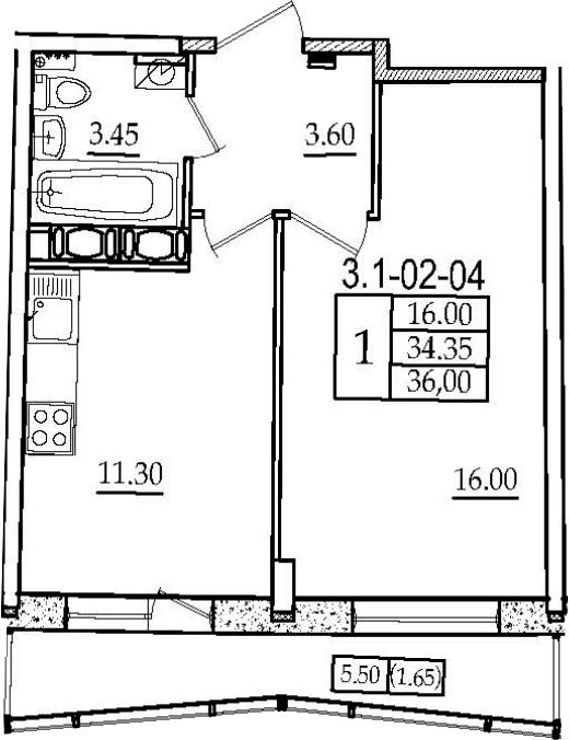 1-к.кв, 36 м², 2 этаж