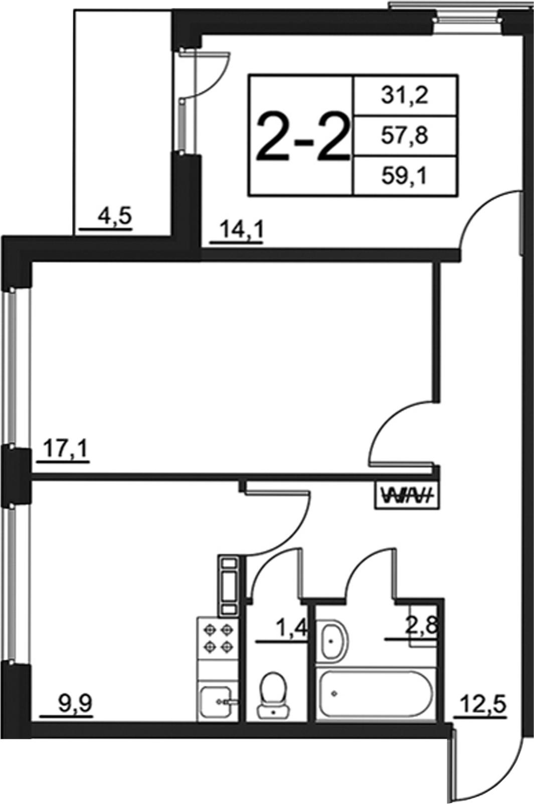 2-к.кв, 62.25 м²