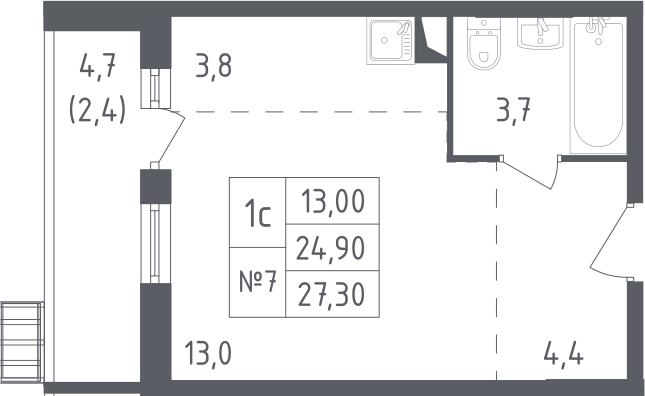Студия, 27.3 м²