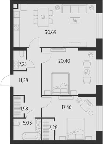 3Е-к.кв, 91.25 м²