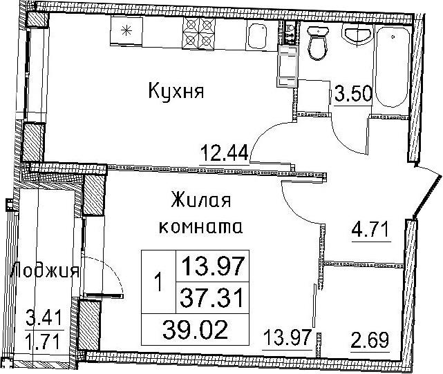 1-к.кв, 39.02 м²