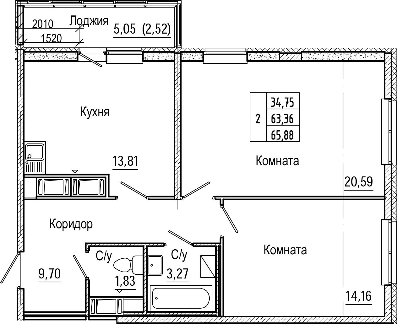 2-комнатная, 65.88 м²– 2