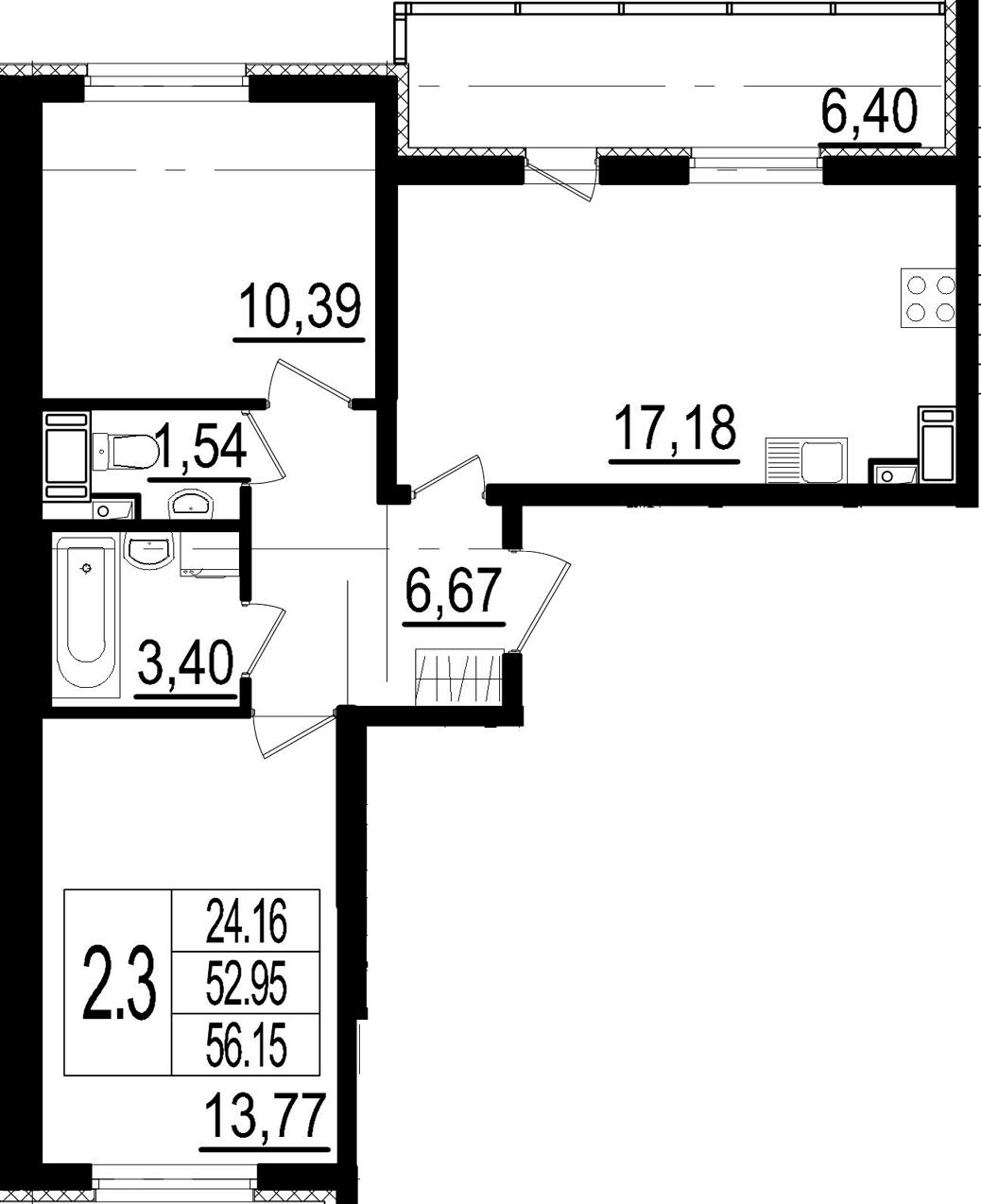 3Е-комнатная, 52.95 м²– 2