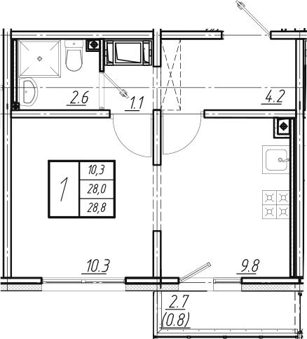 2Е-к.кв, 28.8 м², от 9 этажа