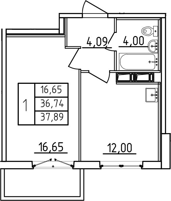 1-к.кв, 37.89 м², от 3 этажа