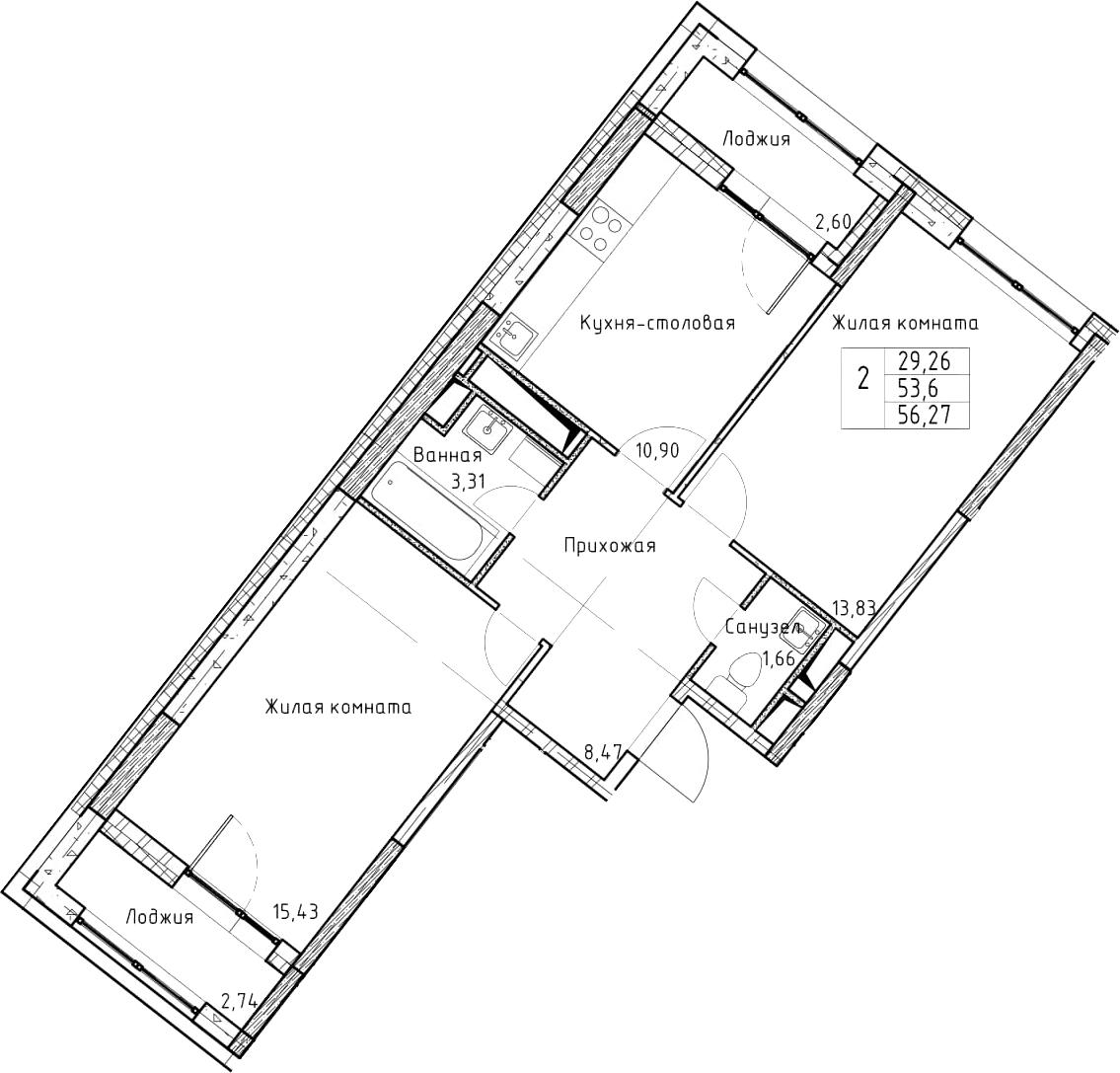 2-к.кв, 56.27 м², от 5 этажа