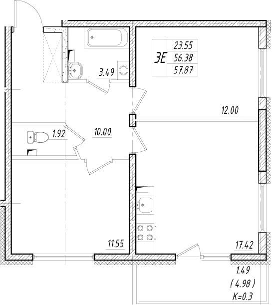 3-к.кв (евро), 61.36 м²