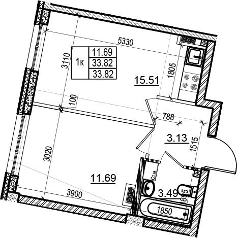 2Е-к.кв, 33.82 м²