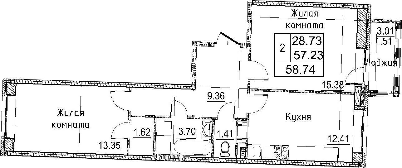 2-к.кв, 58.74 м²