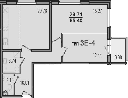 3-к.кв (евро), 68.78 м²