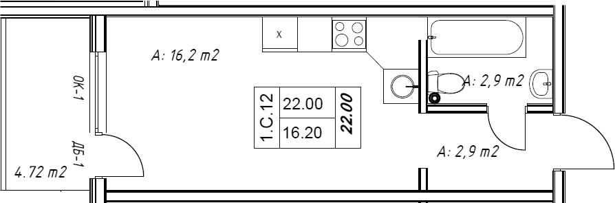 Студия, 23.42 м²– 2