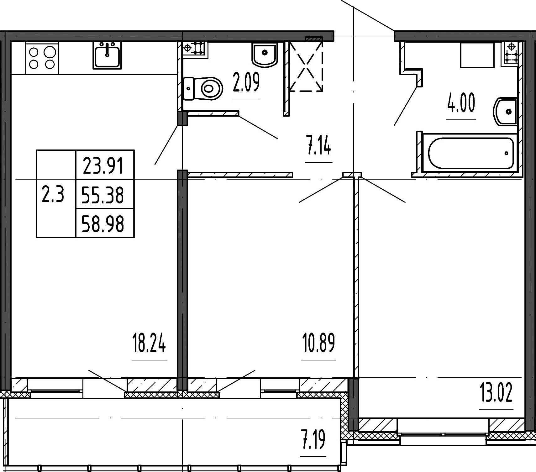 3Е-к.кв, 55.38 м²