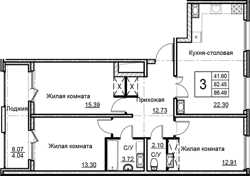 4-к.кв (евро), 90.53 м²