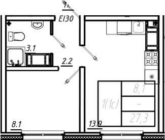 1-к.кв, 27.3 м², от 5 этажа