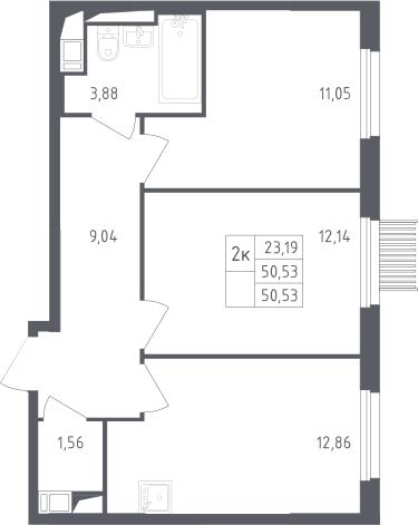 2-комнатная, 50.53 м²– 2