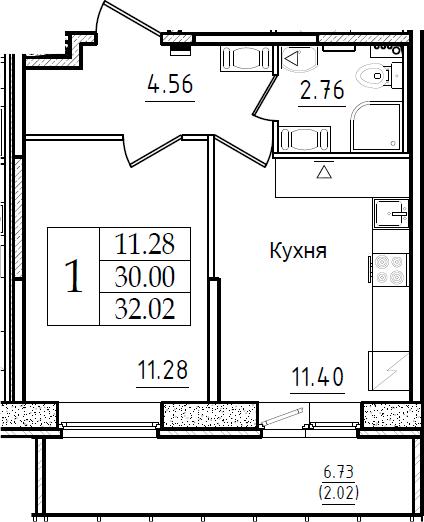 1-к.кв, 32.02 м², от 9 этажа