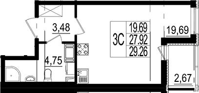 Студия, 29.26 м²