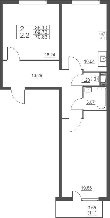 3Е-к.кв, 70.83 м²