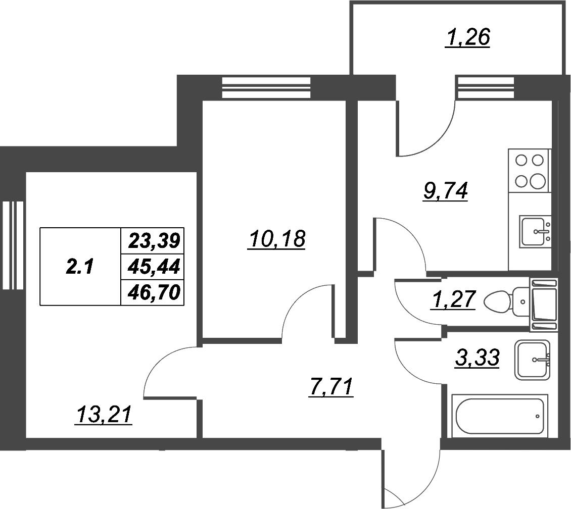 2-к.кв, 49.64 м²