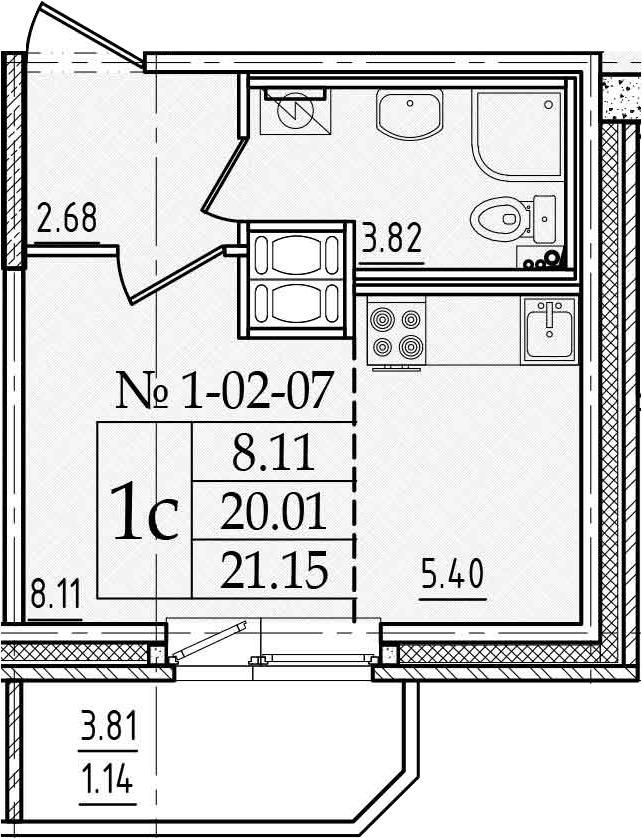 Студия, 23.82 м²