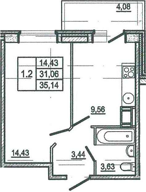 1-к.кв, 35.14 м²