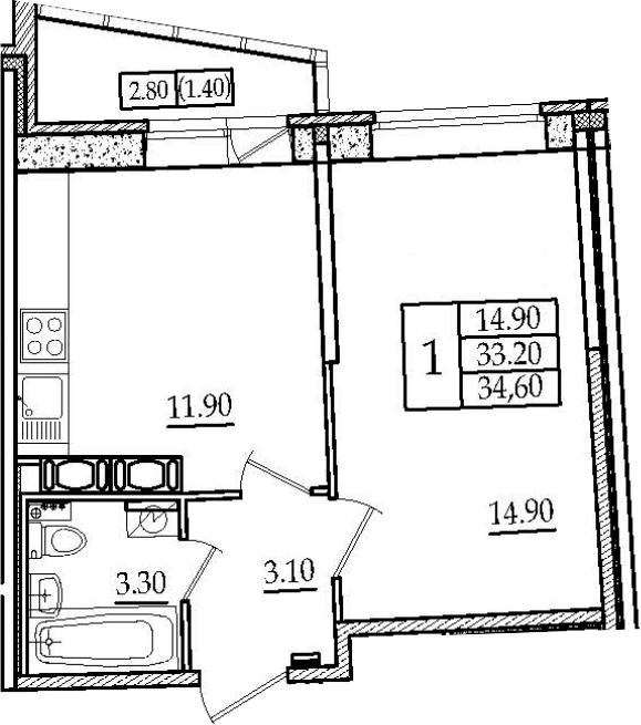 1-к.кв, 34.6 м², 9 этаж