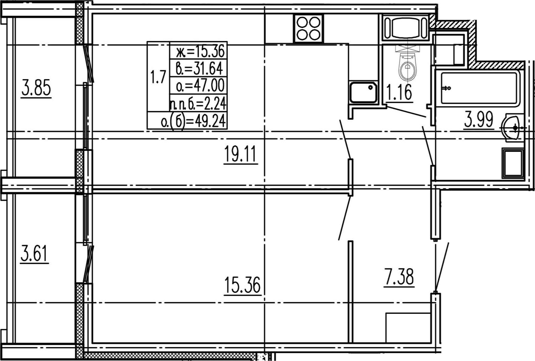 2Е-комнатная, 47 м²– 2