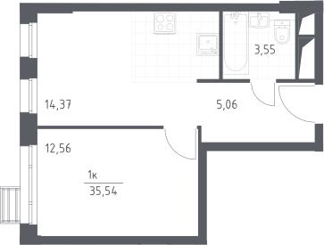 2Е-к.кв, 35.54 м², от 13 этажа
