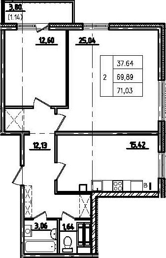 3-к.кв (евро), 74.13 м²