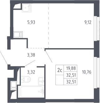 2Е-комнатная, 32.51 м²– 2