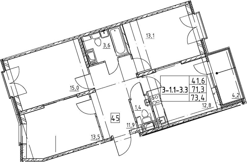3-к.кв, 73.4 м², 5 этаж