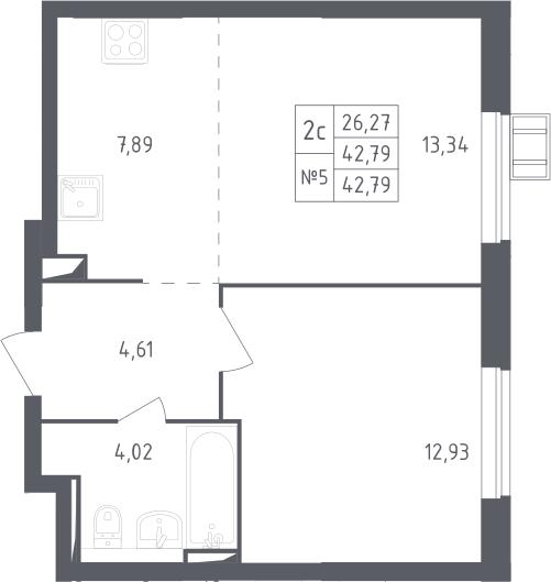 2Е-к.кв, 42.79 м²