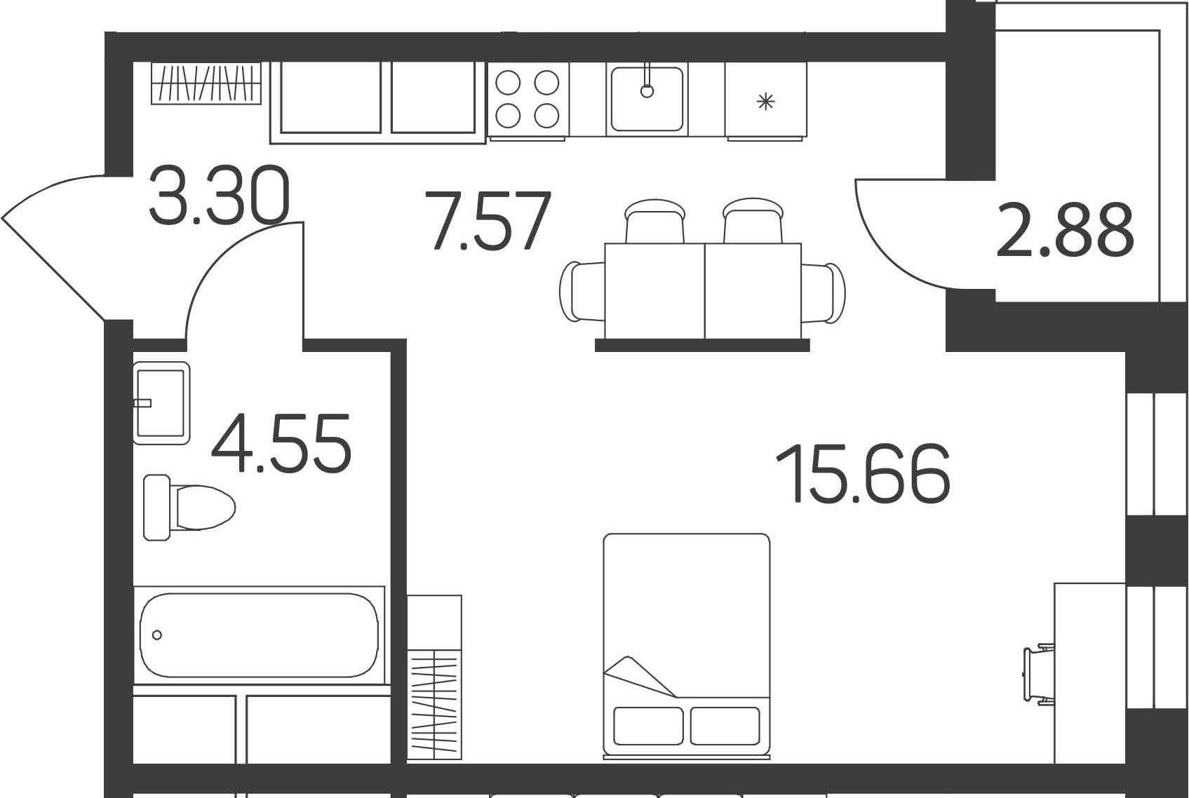 Студия, 32.52 м²– 2