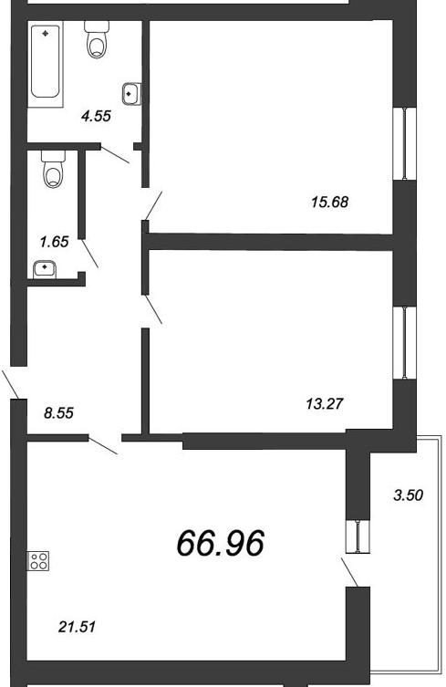 3-к.кв (евро), 68.71 м²