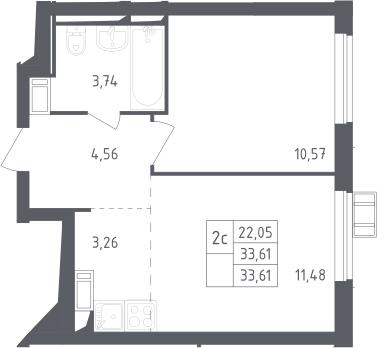 2Е-к.кв, 33.61 м², 17 этаж