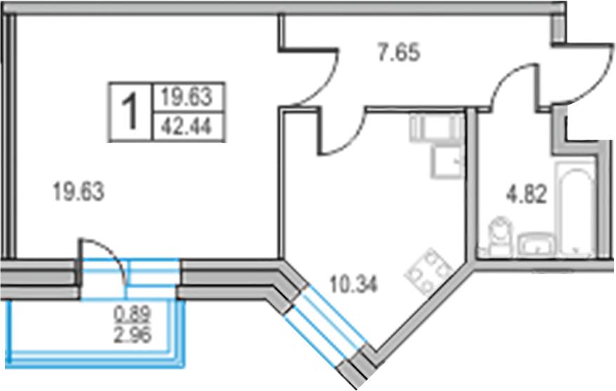 1-к.кв, 45.4 м²