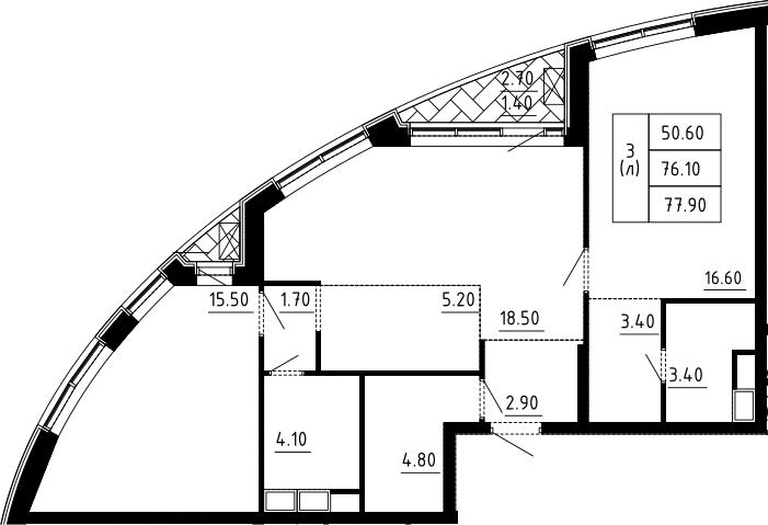3Е-комнатная, 77.9 м²– 2