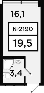 Студия, 19.5 м²
