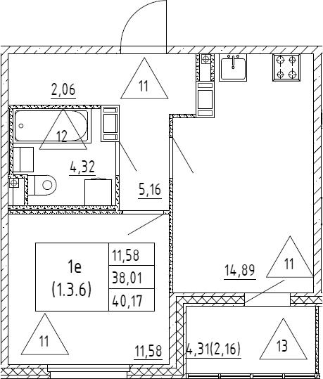 2Е-к.кв, 40.17 м², от 3 этажа