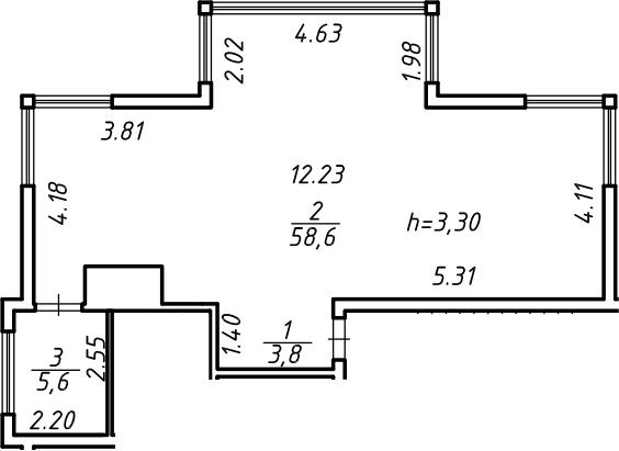 Свободная планировка, 68 м²– 2