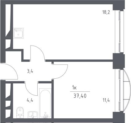 2Е-комнатная, 37.4 м²– 2