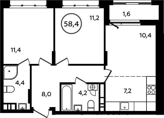 3Е-комнатная, 58.4 м²– 2