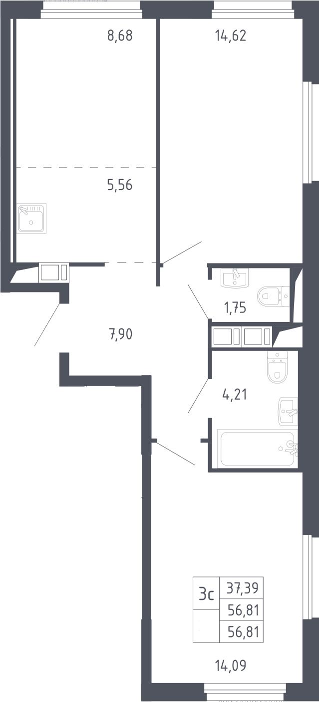 3Е-к.кв, 56.81 м², 9 этаж