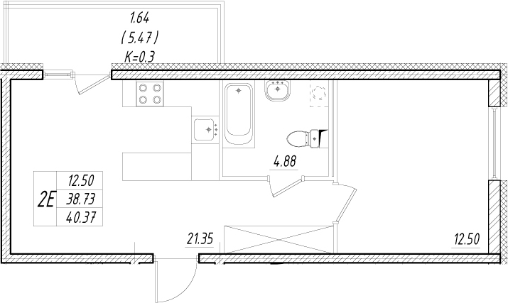 2-к.кв (евро), 44.2 м²