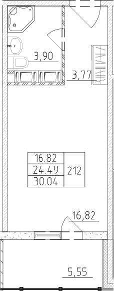 Студия, 26.15 м², 15 этаж