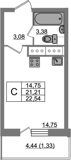 Студия, 22.54 м², 23 этаж
