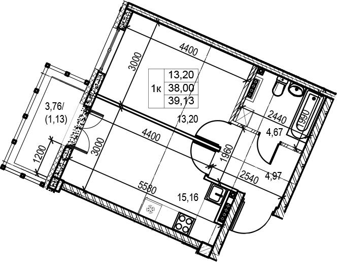 2Е-комнатная, 39.13 м²– 2