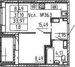 2-к.кв (евро), 33.97 м²