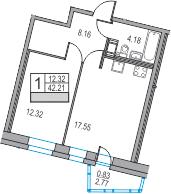 2-к.кв (евро), 44.98 м²
